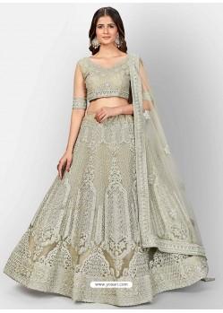 Olive Green Scintillating Designer Heavy Bridal Lehenga Choli