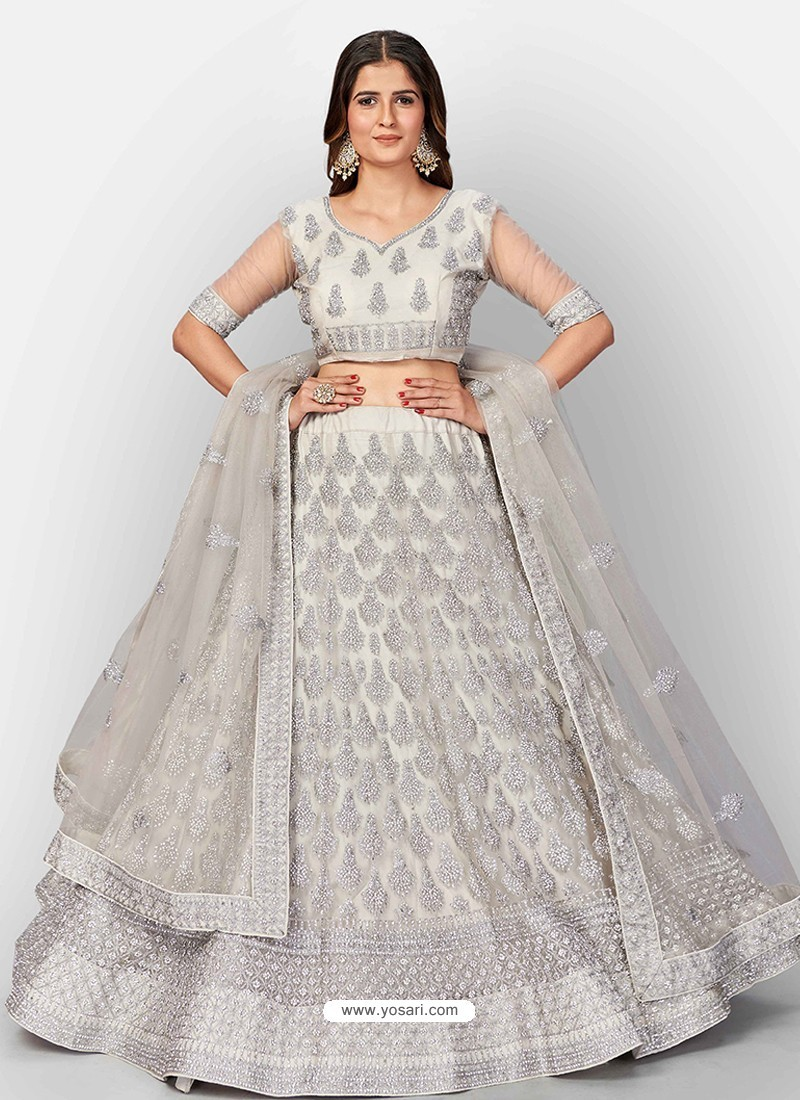Light Grey Scintillating Designer Heavy Bridal Lehenga Choli