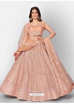 Light Orange Scintillating Designer Heavy Bridal Lehenga Choli