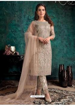 Off White Heavy Designer Party Wear Soft Net Pakistani Suit