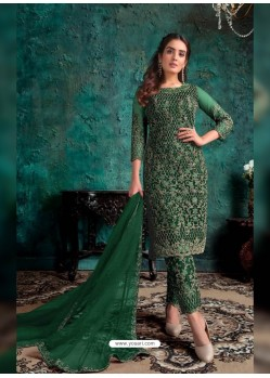 Dark Green Heavy Designer Party Wear Soft Net Pakistani Suit