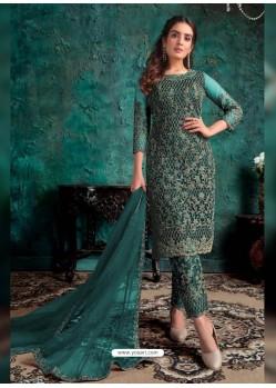 Teal Heavy Designer Party Wear Soft Net Pakistani Suit