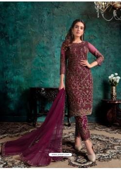 Deep Wine Heavy Designer Party Wear Soft Net Pakistani Suit