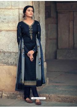 Navy Blue Readymade Latest Designer Party Wear Straight Salwar Suit