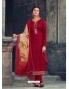 Maroon Readymade Latest Designer Party Wear Straight Salwar Suit