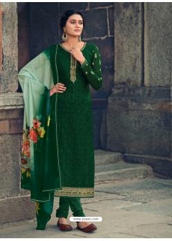 Dark Green Readymade Latest Designer Party Wear Straight Salwar Suit