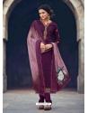 Purple Readymade Latest Designer Party Wear Straight Salwar Suit