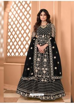 Black Bridal Designer Party Wear Soft Net Anarkali Suit