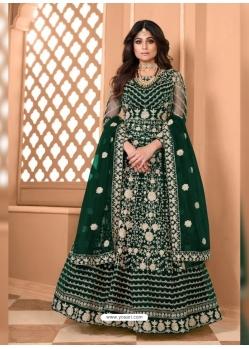 Dark Green Bridal Designer Party Wear Soft Net Anarkali Suit