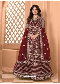 Maroon Bridal Designer Party Wear Soft Net Anarkali Suit