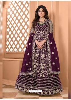Purple Bridal Designer Party Wear Soft Net Anarkali Suit