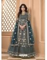 Teal Blue Bridal Designer Party Wear Soft Net Anarkali Suit