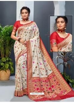 Off White Designer Party Wear Art Soft Silk Sari