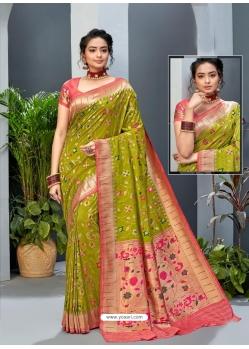 Parrot Green Designer Party Wear Art Soft Silk Sari