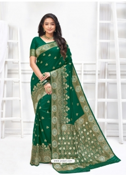 Dark Green Designer Party Wear Art Soft Silk Sari