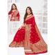 Red Designer Party Wear Art Soft Silk Sari