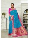 Blue Designer Party Wear Art Soft Silk Sari