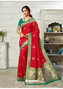 Tomato Red Designer Party Wear Art Soft Silk Sari