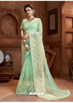 Sea Green Designer Party Wear Net Sari