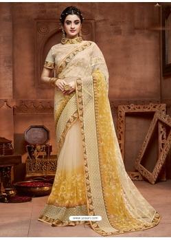 Cream Designer Party Wear Net Sari