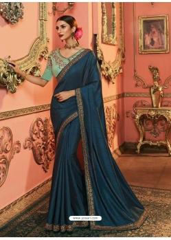 Navy Blue Latest Designer Party Wear Sari