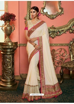 Off White Latest Designer Party Wear Sari