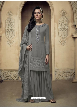 Grey Embroidered Designer Heavy Foux Georgette Sharara Suit