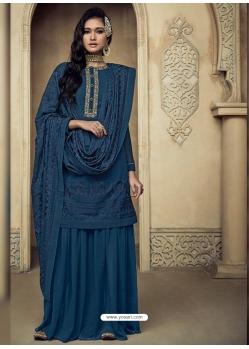 Dark Blue Embroidered Designer Heavy Foux Georgette Sharara Suit