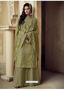 Olive Green Embroidered Designer Heavy Foux Georgette Sharara Suit