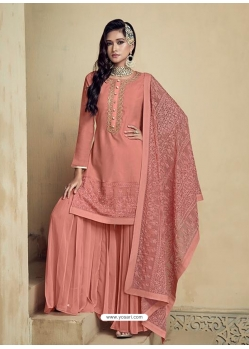 Light Red Embroidered Designer Heavy Foux Georgette Sharara Suit