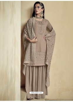 Taupe Embroidered Designer Heavy Foux Georgette Sharara Suit