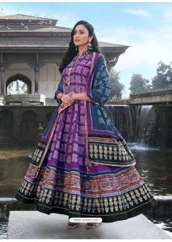 Violet Readymade Latest Designer Party Wear Anarkali Suit