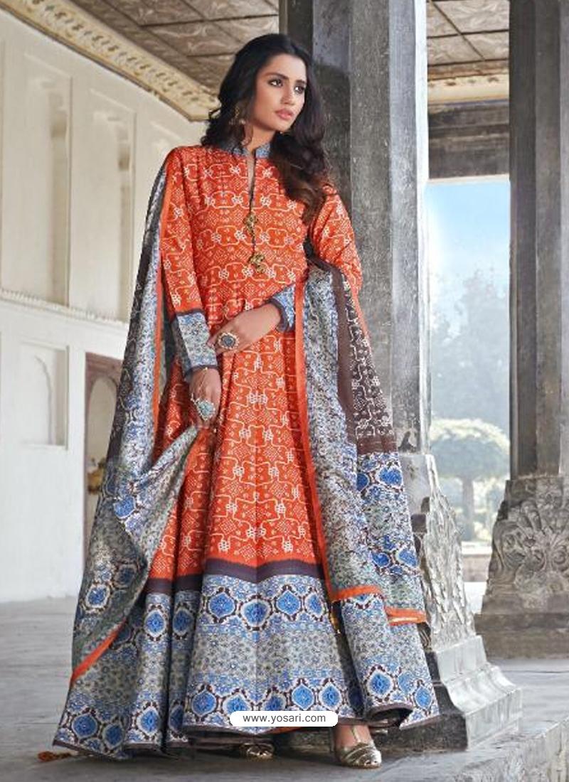 Orange Readymade Latest Designer Party Wear Anarkali Suit