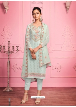 Aqua Grey Embroidered Designer Alizeh Gerogette Straight Salwar Suit