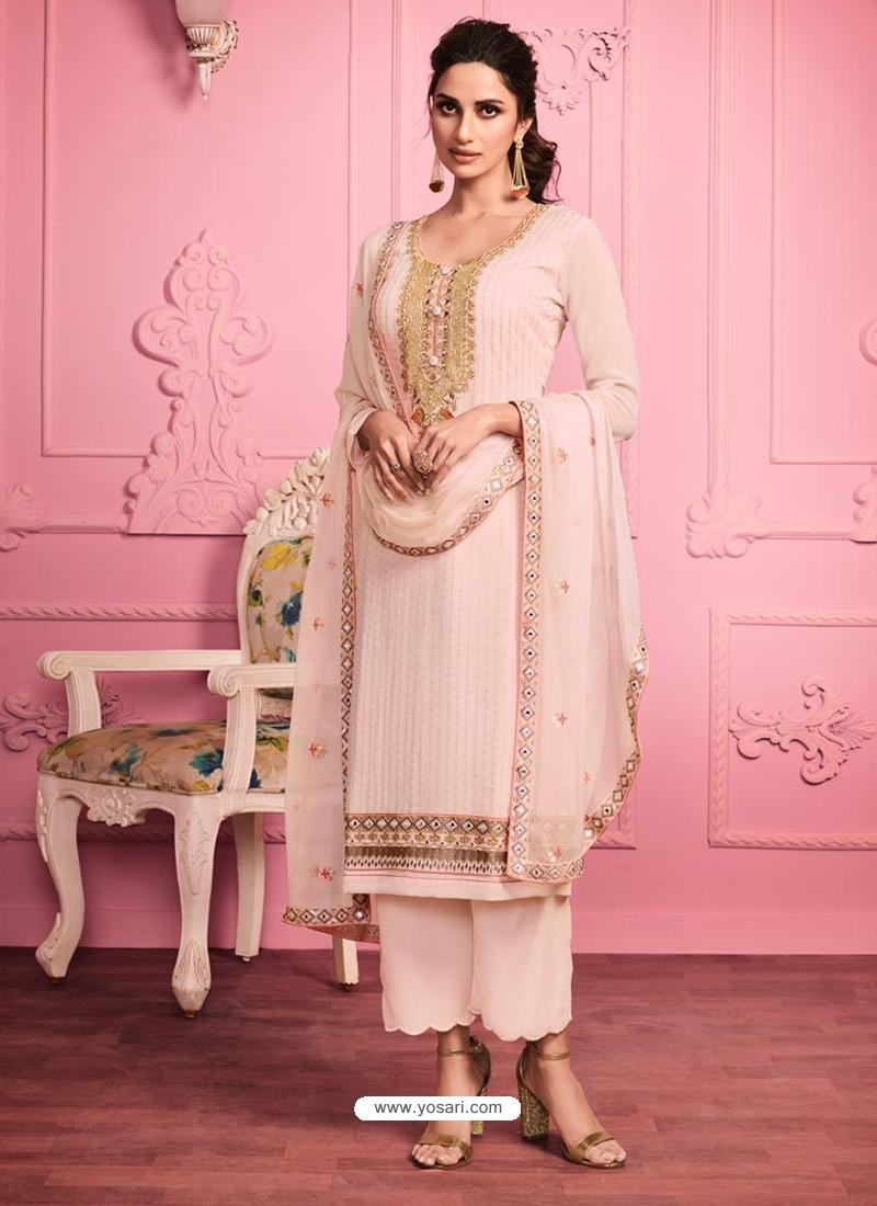 Baby Pink Embroidered Designer Alizeh Gerogette Straight Salwar Suit