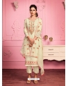 Light Yellow Embroidered Designer Alizeh Gerogette Straight Salwar Suit