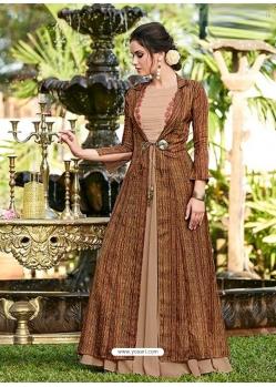 Brown Designer Party Wear Western Gown