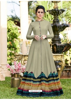 Taupe Designer Party Wear Western Gown