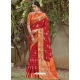 Tomato Red Designer Party Wear Silk Sari