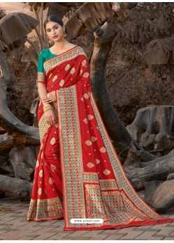Red Designer Party Wear Silk Sari