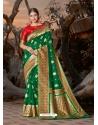 Forest Green Designer Party Wear Silk Sari