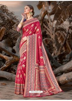 Light Red Designer Party Wear Silk Sari