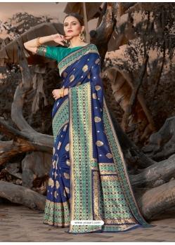 Dark Blue Designer Party Wear Silk Sari