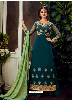 Teal Blue Designer Party Wear Pure Georgette Palazzo Suit