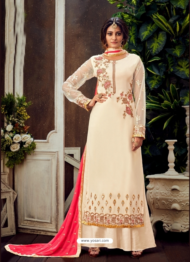Off White Designer Party Wear Pure Georgette Palazzo Suit