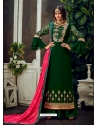 Dark Green Designer Party Wear Pure Georgette Palazzo Suit