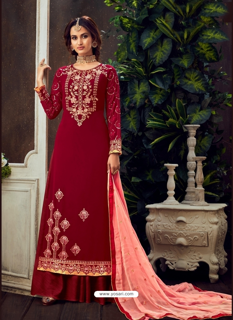 Maroon Designer Party Wear Pure Georgette Palazzo Suit
