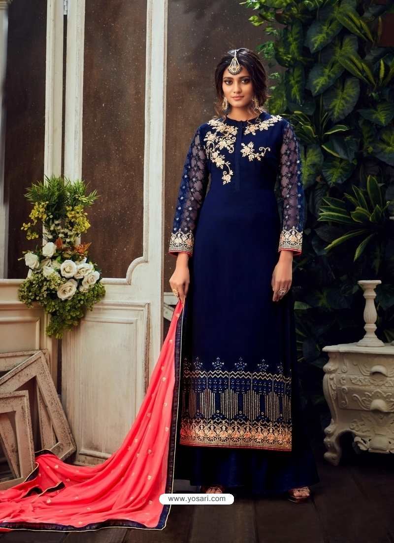 Dark Blue Designer Party Wear Pure Georgette Palazzo Suit