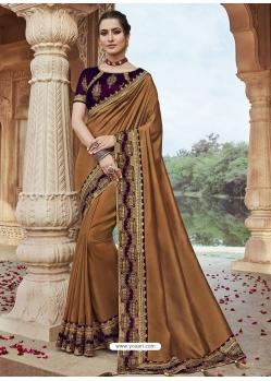 Brown Designer Party Wear Silk Sari