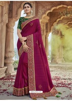 Deep Wine Designer Party Wear Silk Sari